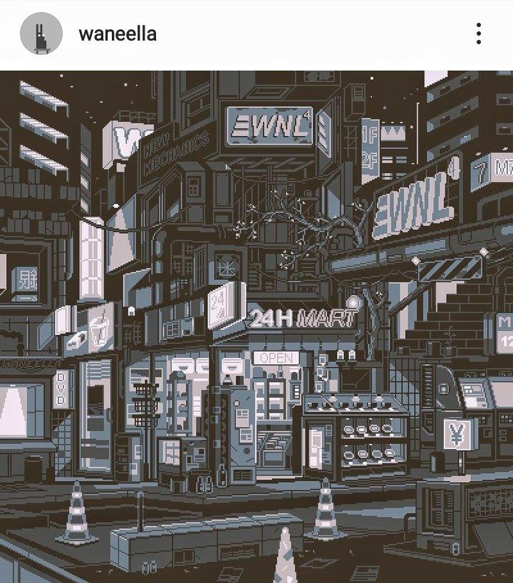 cyberpunk pixel art waneella