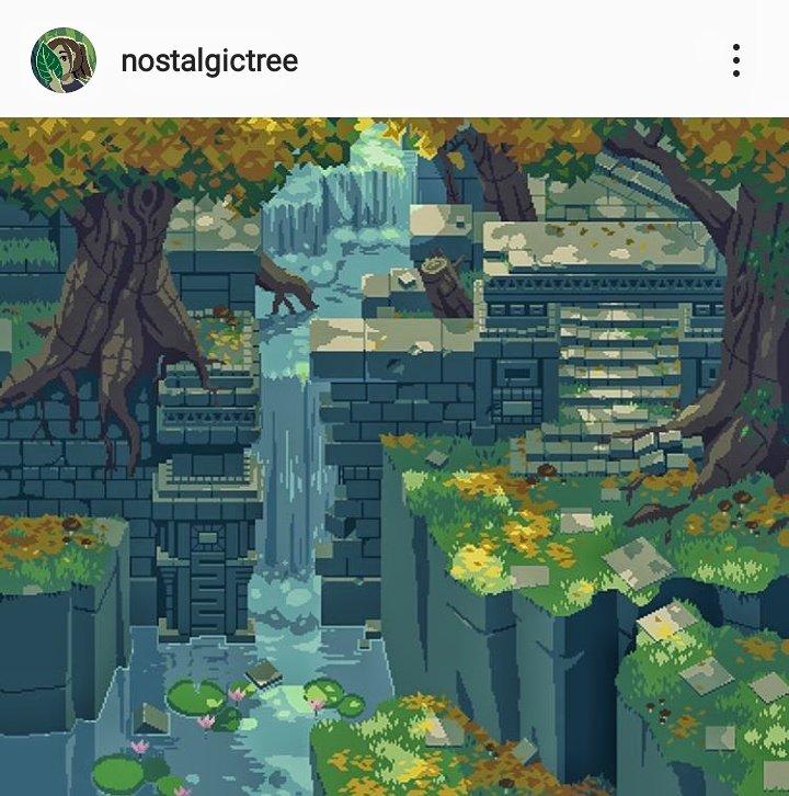 2d pixelart  nostalgic tree