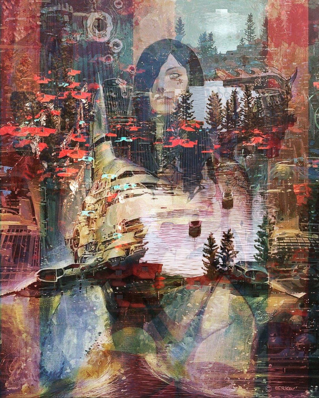 cyberpunk collage art